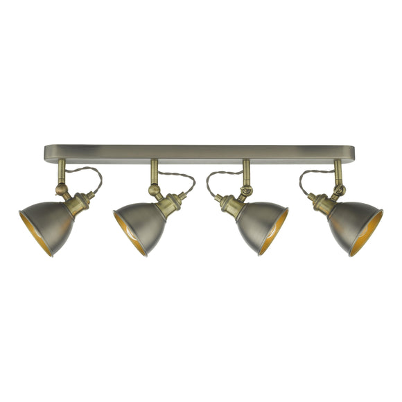där Lighting GOV8461 Governor 4 Light Antique Chrome & Antique Brass Bar Spotlight