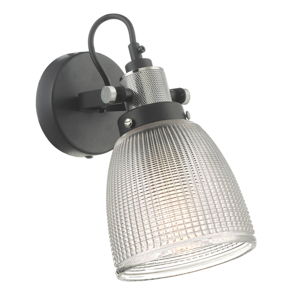 där Lighting ISM0722 Ismet Black Polished Chrome And Textured Glass Wall Light