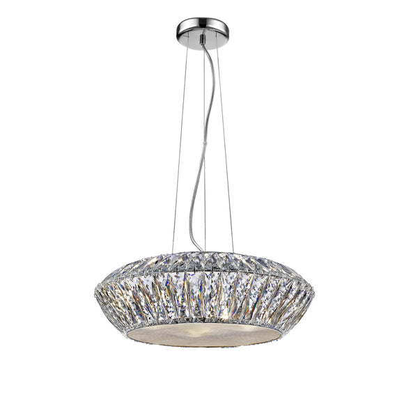 Impex Lighting LED1705-05-CH Armel 5 Light Polished Chrome And Crystal Pendant Ceiling Light