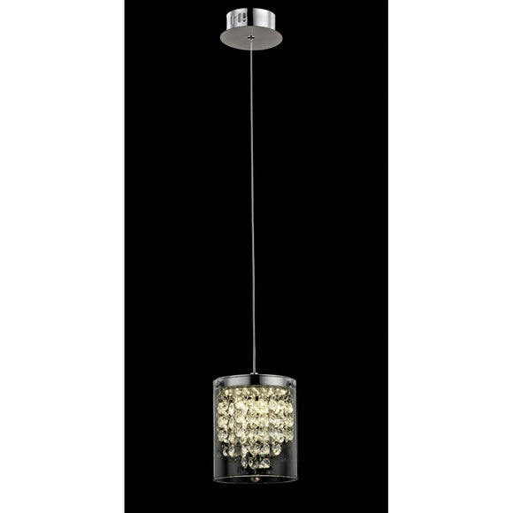 Impex Lighting LED608242-01-CH Florina 1 Light Polished Chrome And Crystal Pendant Ceiling Light