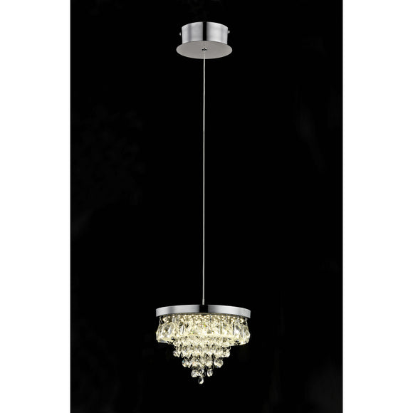 Impex Lighting LED608243-01-CH Essonne 1 Light Polished Chrome And Crystal Pendant Ceiling Light