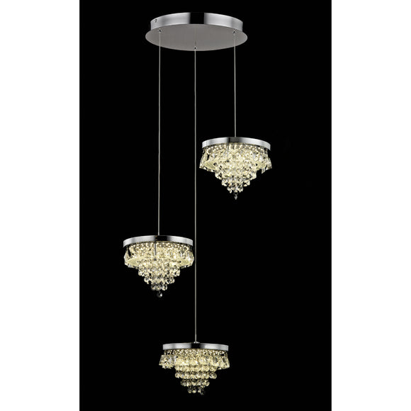 Impex Lighting LED608243-03-CH Essonne 3 Light Polished Chrome And Crystal Pendant Ceiling Light