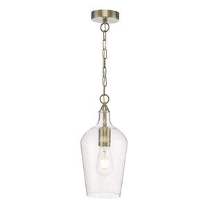 där Lighting NID0175 Nida Antique Brass & Glass Pendant Ceiling Light