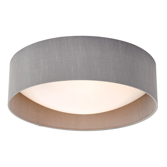 där Lighting NYS5039 Nysa 2 Light Grey Faux Silk 40cm Flush Ceiling Light