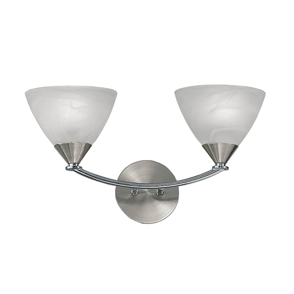 Franklite PE9672-786 Meridian 2 Light Brushed Nickel Finish Wall Light