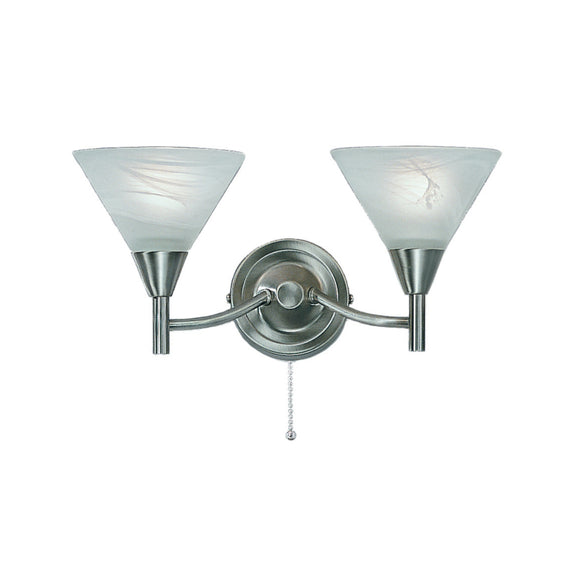 Franklite PE9832 Harmony 2 Light Satin Nickel Finish Wall Light (Switched)