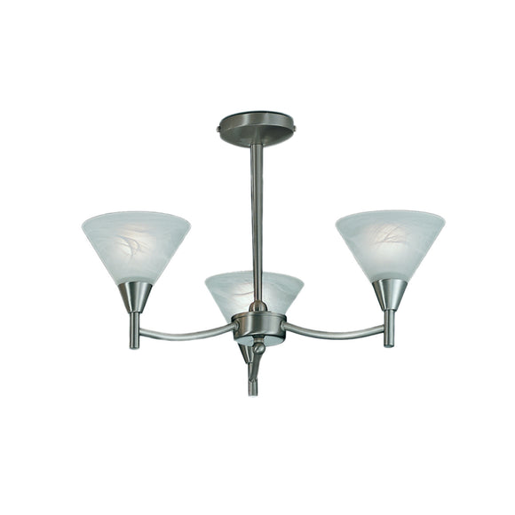 Franklite PE9833 Harmony 3 Light Satin Nickel Semi Flush Ceiling Light