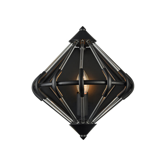 Impex Lighting PG1702-01-WB-BLK Gerda 1 Light Black And Glass Wall Light