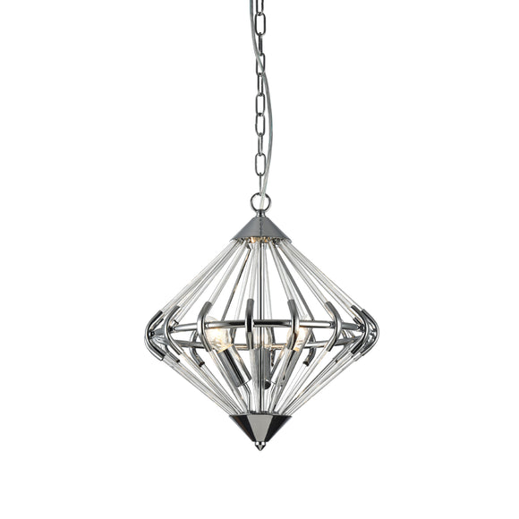 Impex Lighting PG1702-03-CH Gerda 3 Light Polished Chrome And Glass Pendant Ceiling Light