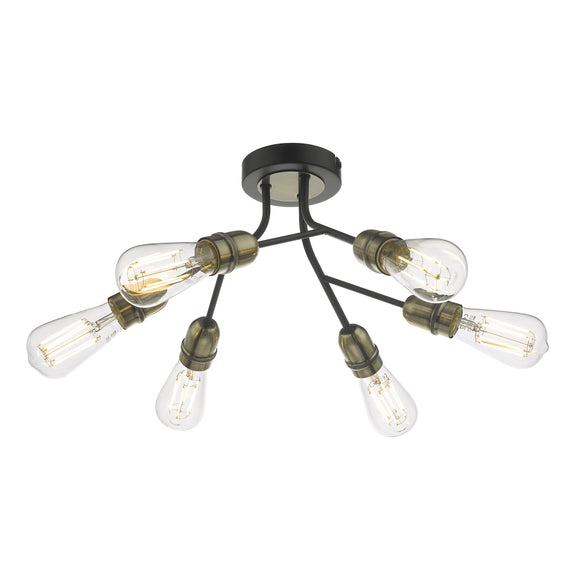 där Lighting REM0654 Remy 6 Light Black & Antique Brass Semi Flush Ceiling Light
