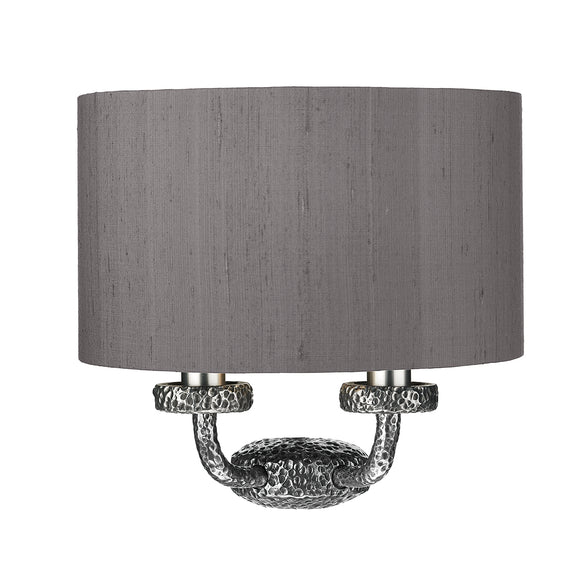 David Hunt Lighting SLO3099-SI Sloane 2 Light Pewter Wall Light With Bespoke Silk Shade