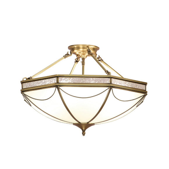 Interiors 1900 SN01P63 Russell 8 Light Solid Brass Semi-Flush