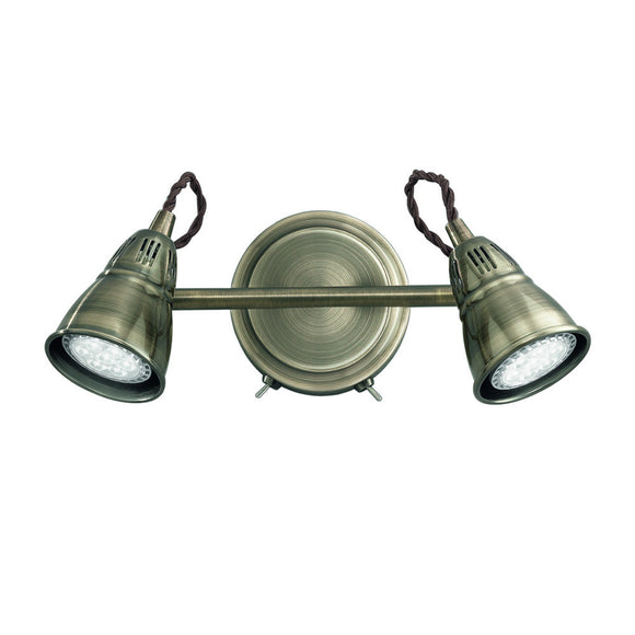 Franklite SPOT8952 Rustica 2 Light Bronze LED Wall Spotlight (Switched)