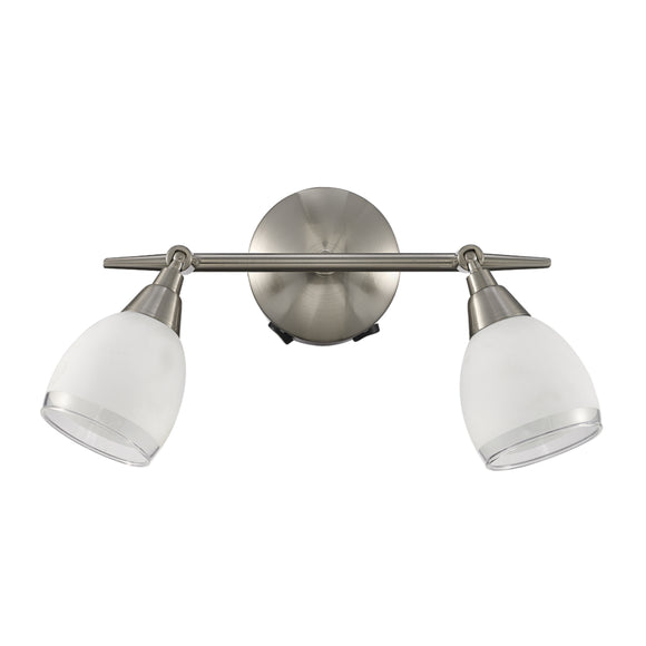 Franklite SPOT8972 Lutina 2 Light Satin Nickel Wall Spotlight (Switched)