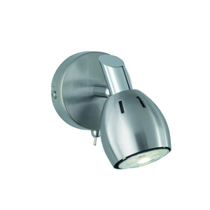 Franklite SPOT9001 Tivoli 1 Light Satin Nickel LED Wall Spotlight (Switched)