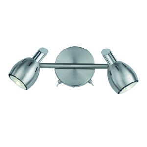 Franklite SPOT9002 Tivoli 2 Light Satin Nickel LED Wall Spotlight (Switched)