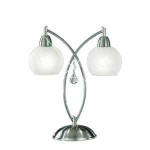 Franklite TL907 Thea 2 Light Satin Nickel Finish Table Lamp