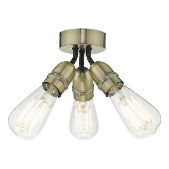 där Lighting YAO0375 Yao 3 Light Antique Brass Semi Flush Ceiling Light