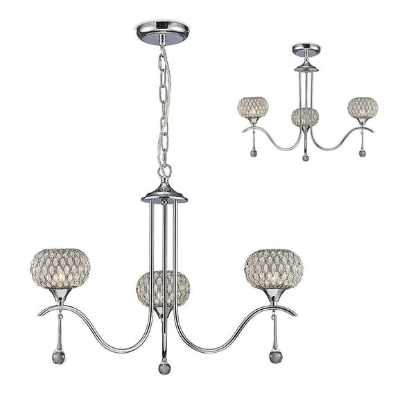 Diyas IL31503 Chelsie 3 Light Polished Chrome-Clear Beaded Glass Pendant Ceiling Light