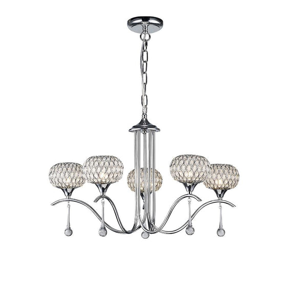 Diyas IL31506 Chelsie 5 Light Polished Chrome-Clear Beaded Glass Pendant Ceiling Light