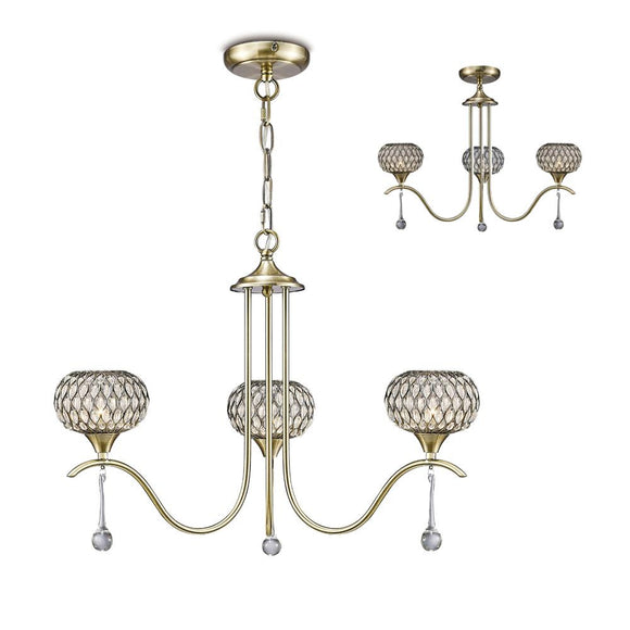 Diyas IL31513 Chelsie 3 Light Antique Brass-Clear Beaded Glass Pendant Ceiling Light