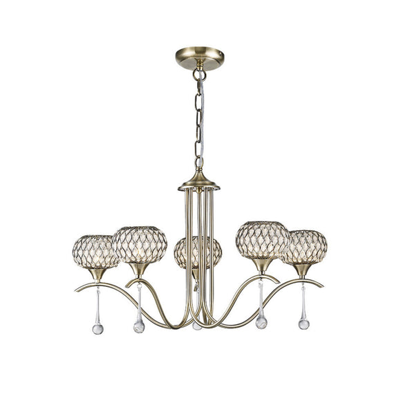 Diyas IL31516 Chelsie 5 Light Antique Brass-Clear Beaded Glass Pendant Ceiling Light