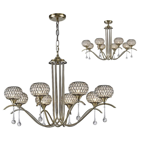Diyas IL31519 Chelsie 8 Light Antique Brass-Clear Beaded Glass Pendant Ceiling Light