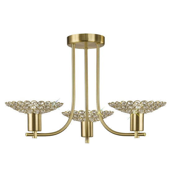 Diyas IL20601 Ellen 3 Light Satin Brass-Crystal Semi Flush Ceiling Light