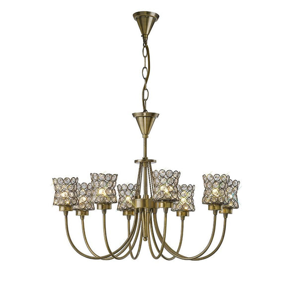 Diyas IL20662 Nelson 8 Light Antique Brass-Crystal Pendant Ceiling Light
