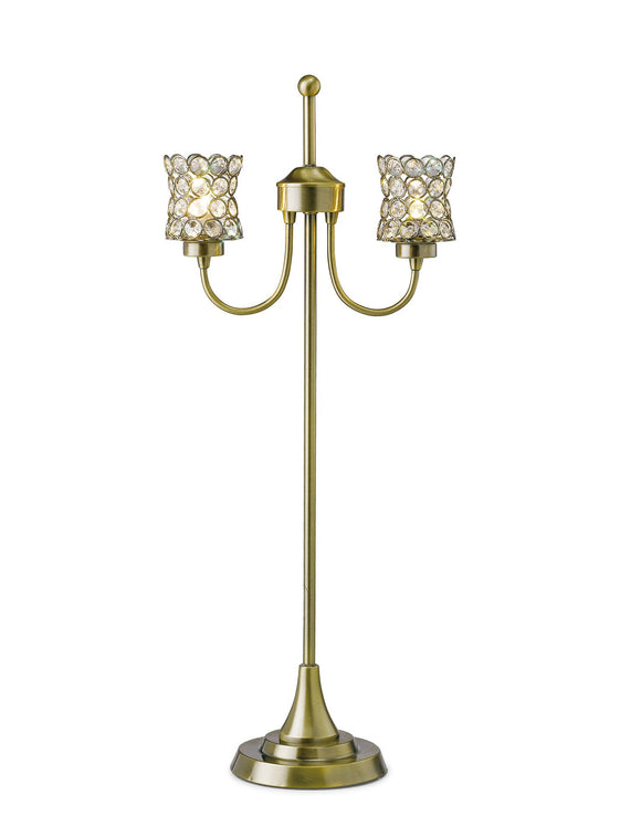 Diyas IL20663 Nelson 2 Light Antique Brass-Crystal Table Lamp