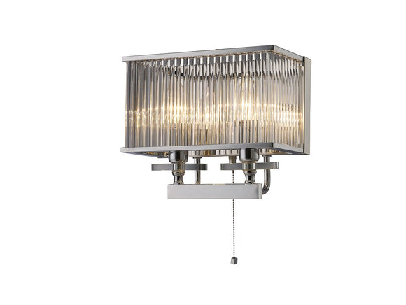 Diyas IL31410 Vanessa 2 Light Polished Chrome-Glass Wall Light (Switched)