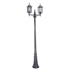 Elstead Lighting WX8 Wexford Black Silver Outdoor Twin Lamp Post