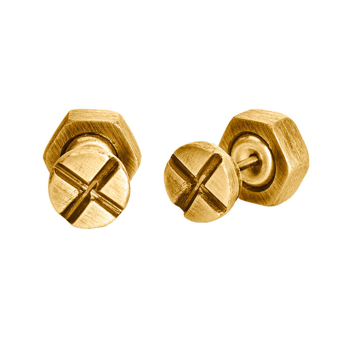 Single Screw and Bolt Earring, Gold
