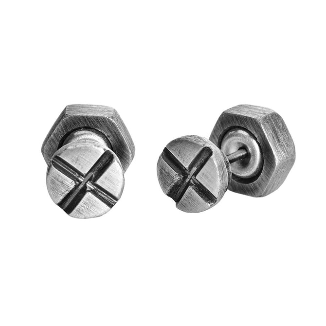 Single Screw and Bolt Earring, Silver