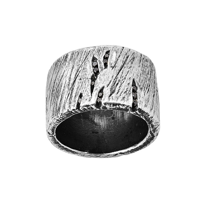 Broken Ring with Black Diamonds
