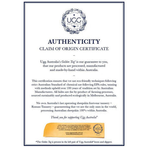 UGG AUSTRALIA CERTIFICATE OF AUTHENTICITY