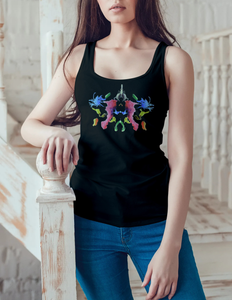 What do you see? Colorful Ink Blot Women's Racerback Tank