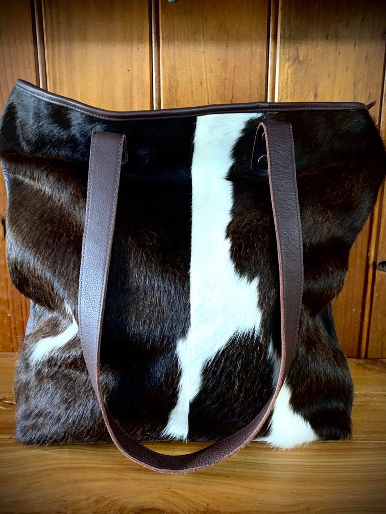 Belle Couleur - Belle, Chocolate and White Cowhide Tote Bag-Handbags & Wallets-Morven News & Friendly Grocer