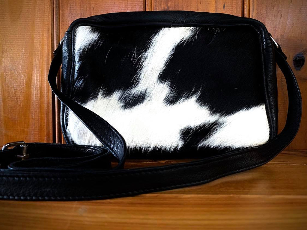 Belle Couleur Madeleine – Flecked Black and White Cowhide Sling Bag-Handbags & Wallets-Morven News & Friendly Grocer