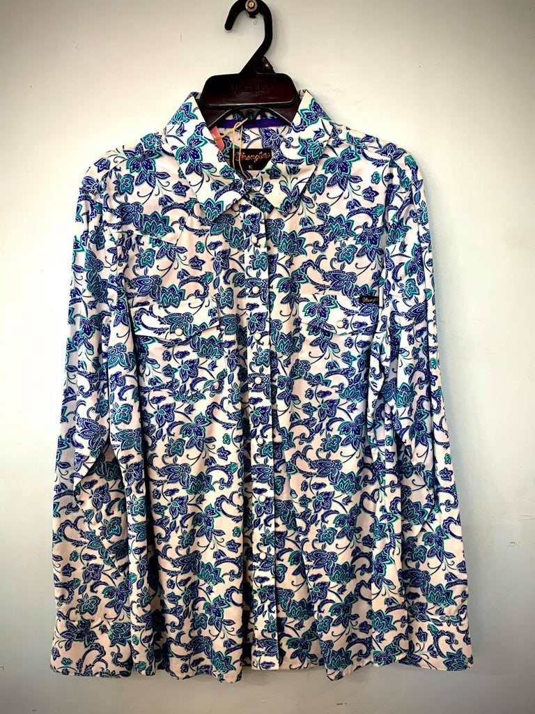 Wrangler Ladies White & Blue Shirt Size 16-Clothing-Morven News & Friendly Grocer