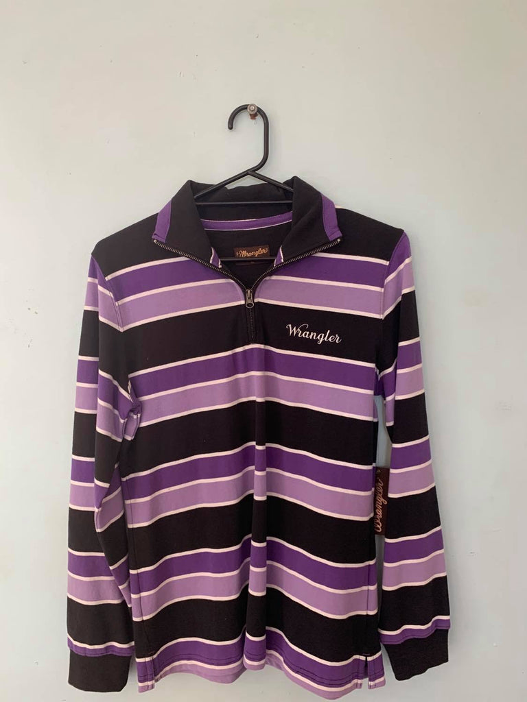 Wrangler Adrienne Stripe Rugby Black/Purple Size 12-Clothing-Morven News & Friendly Grocer