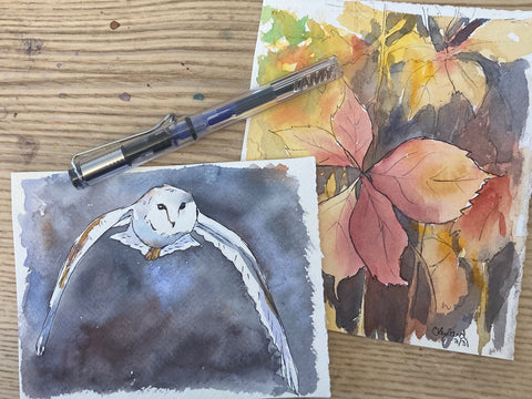 Two watercolour paintings with ink and a lamy fountain pen