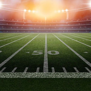 Football field with fresh cut grass turf in a stadium under the lights wax scent