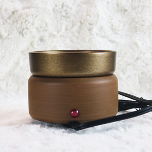 wood grain bronze brown electric plugin candle wax melt warmer