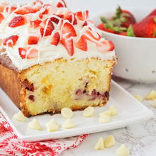 Load image into Gallery viewer, Fresh baked strawberry pound cake with strawberries and white chocolate wax scent