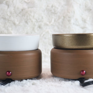 wood grain white bronze brown electric plugin candle wax melt warmer