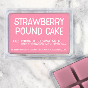 Strawberry Pound Cake Strong Scented Beeswax Wax Melts