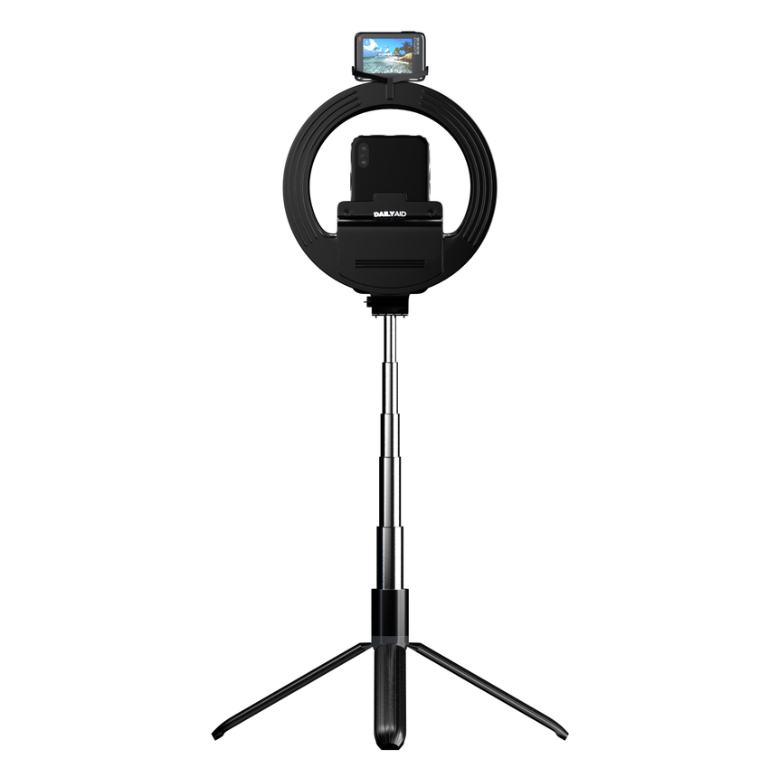 Portable Tripod Ring LED selfie stick with Bluetooth Remote for Makeup, Live Streaming, Shooting, YouTube Video, Vlogs and Compatible with iPhone/Android