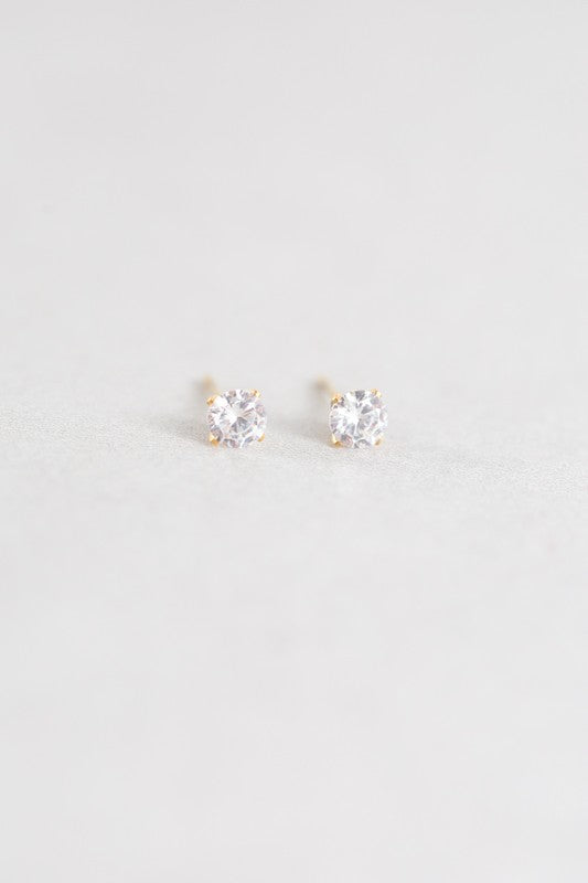 Single Stone Stud Earrings 14K - Beau&Arrow