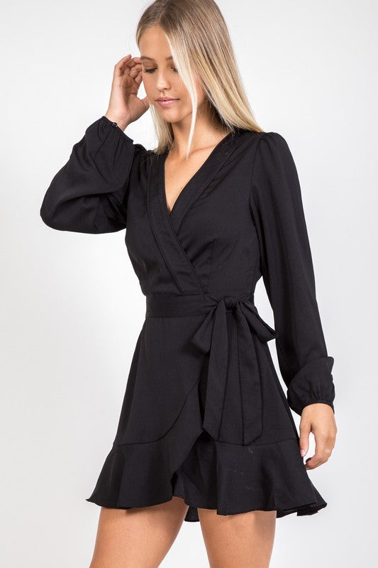 Black Wrap Dress - Beau&Arrow